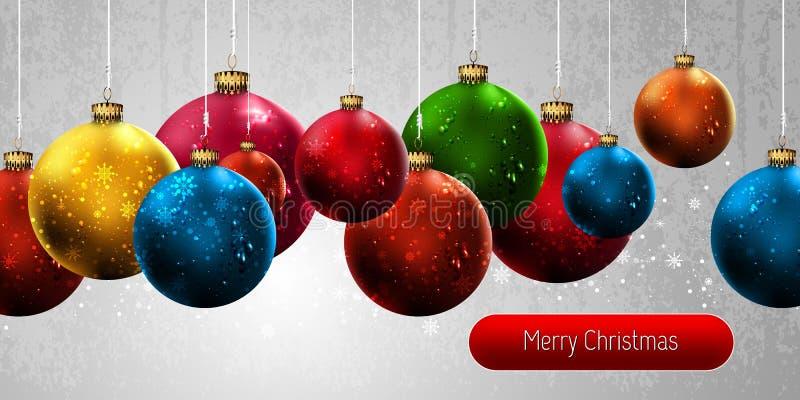 De Banner van Kerstmis met Kleurrijke Bollen vector illustratie