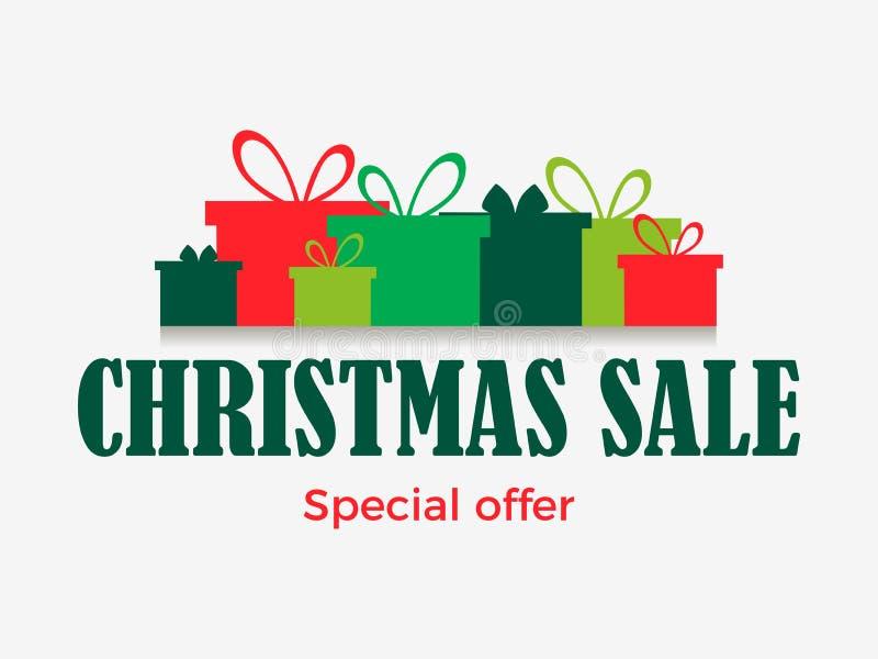 De banner van de Kerstmisverkoop met giftdozen op witte achtergrond worden geïsoleerd die Speciale aanbieding Vector vector illustratie