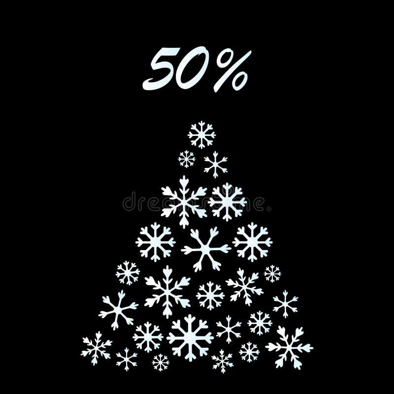 De banner van de Kerstmisverkoop Speciale aanbieding, kortingstype tekst, 50 weg Kerstmislichten, ster, sneeuwvlokboom, slingerko vector illustratie