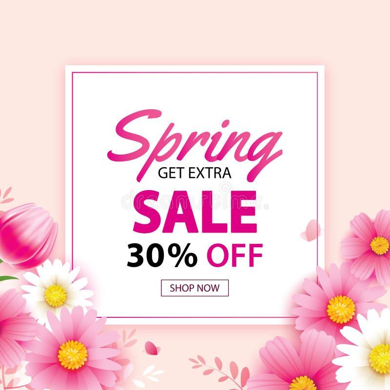 De banner van de de lenteverkoop met bloeiend bloemenmalplaatje als achtergrond Ontwerp voor reclame, vliegers, affiches, brochur vector illustratie