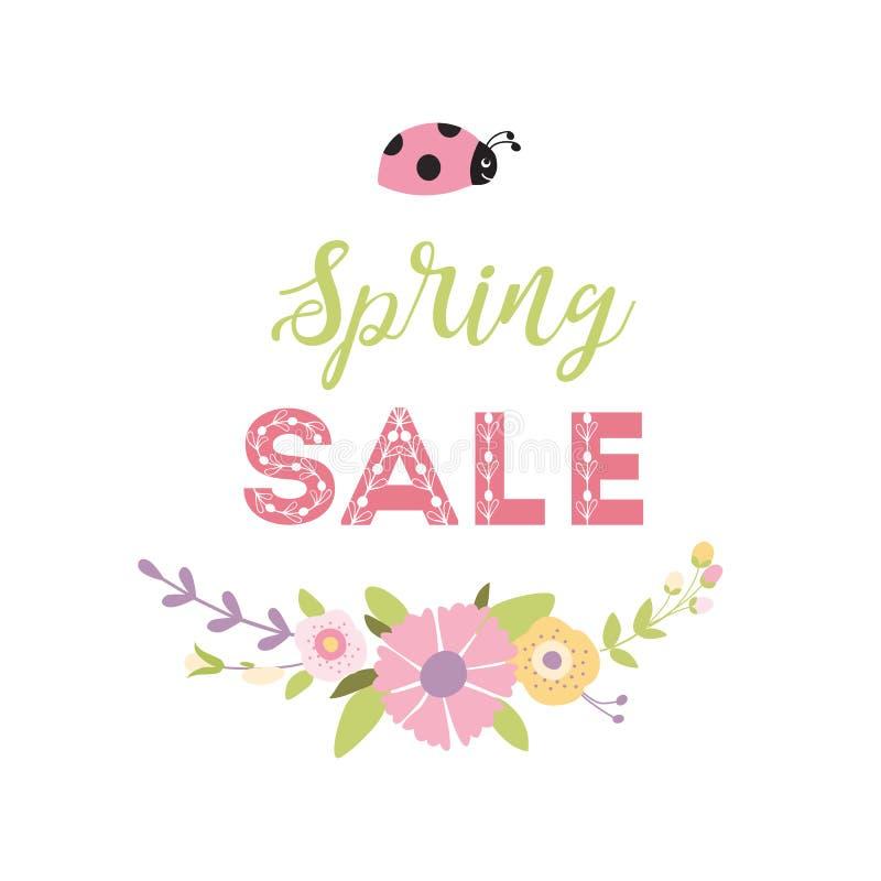 De Banner van de de lenteverkoop met leuk bloemenkroonlieveheersbeestje Vector de bloem roze groene kleuren van de Ontwerplente royalty-vrije illustratie