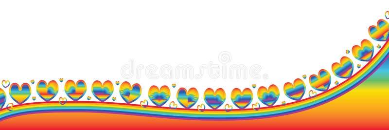 De banner van de liefderegenboog royalty-vrije illustratie
