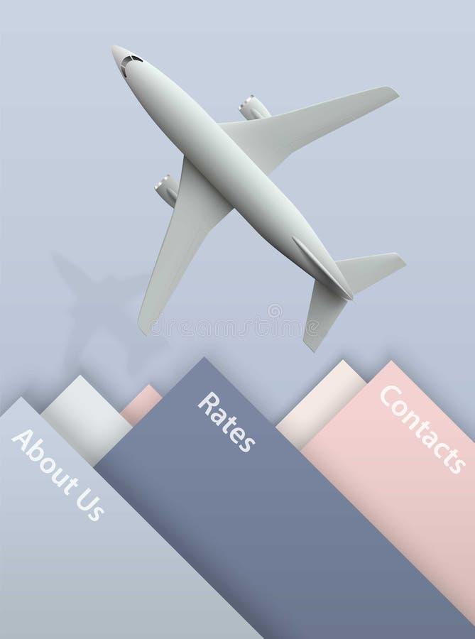 De banner van de luchtreis met vliegtuig op de blauwe achtergrond - vakantie en reisconceptontwerp Banner met realistische foto vector illustratie