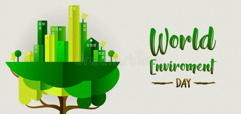 De banner van de milieudag van ecostad in boom royalty-vrije illustratie