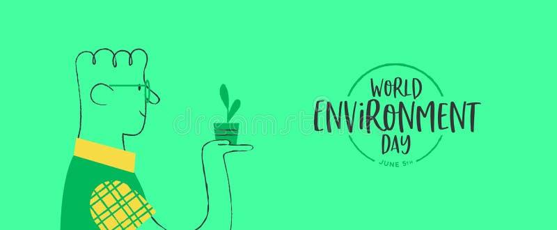 De banner van de milieudag van de gelukkige mens met installatie vector illustratie