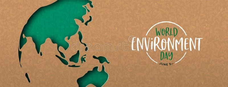 De banner van de milieudag van de groene kaart van de knipselaarde royalty-vrije illustratie