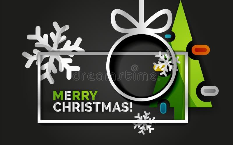 De banner van de nieuwjaarkerstboom, zwarte achtergrond stock illustratie