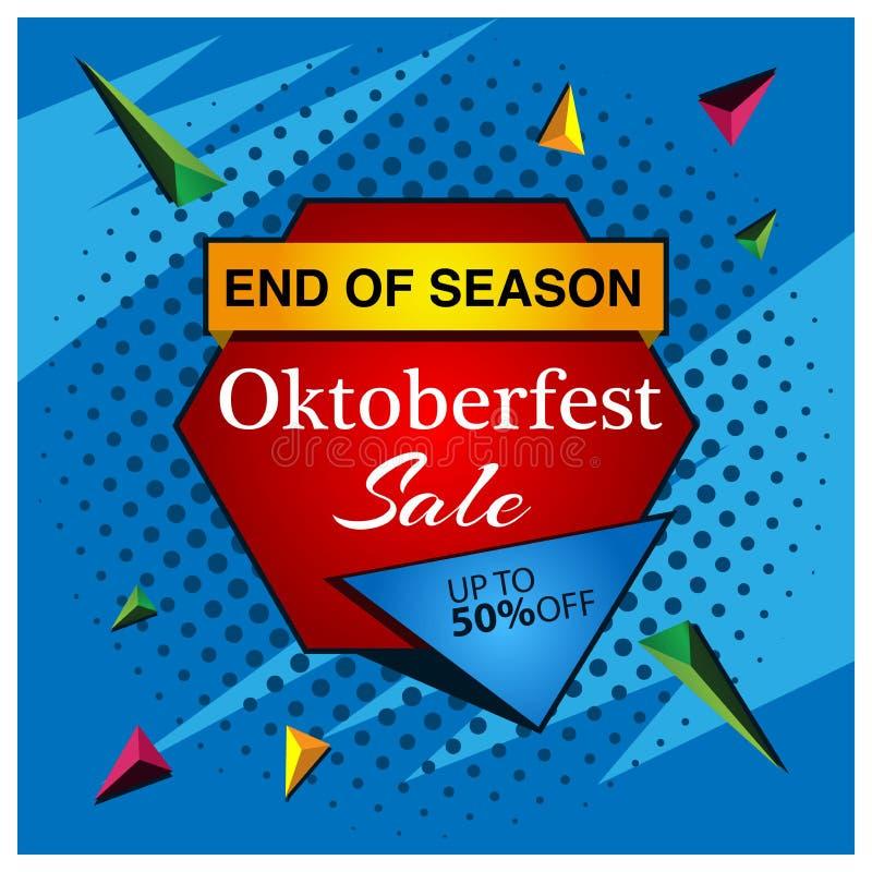 De banner van de Oktoberfestverkoop ontwerpen voor affiches, achtergronden, kaarten, banners, stickers, enz. stock illustratie