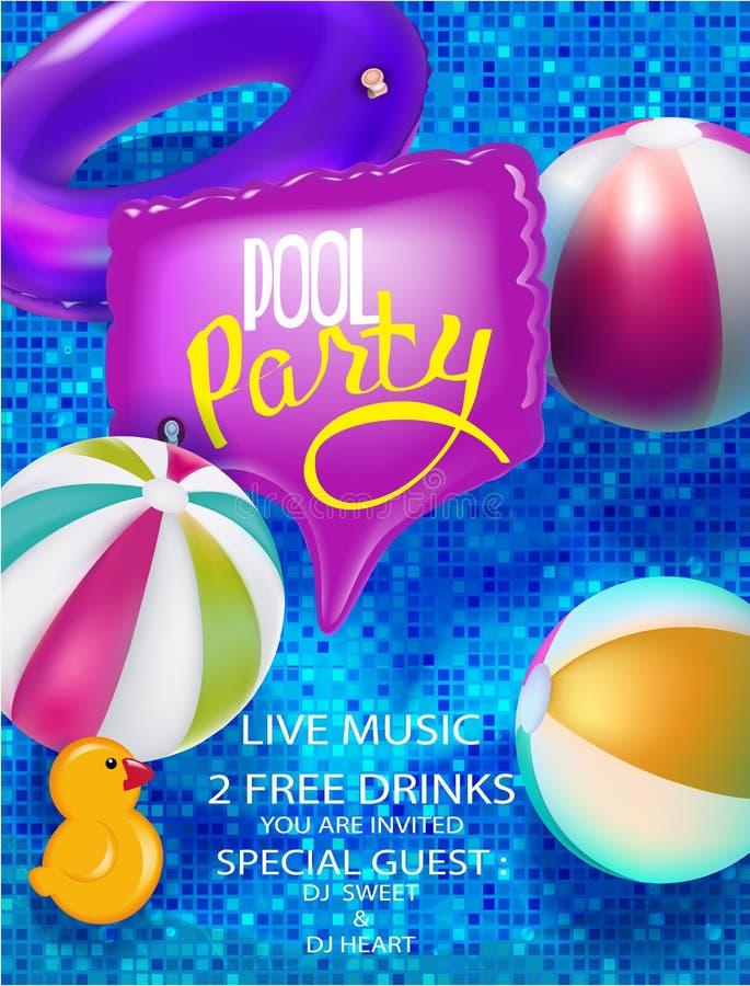 De banner van de poolpartij met opblaasbaar hierboven speelgoed en opblaasbaar in zwembadmening stock illustratie