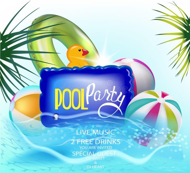 De banner van de poolpartij met opblaasbaar speelgoed in een water vector illustratie