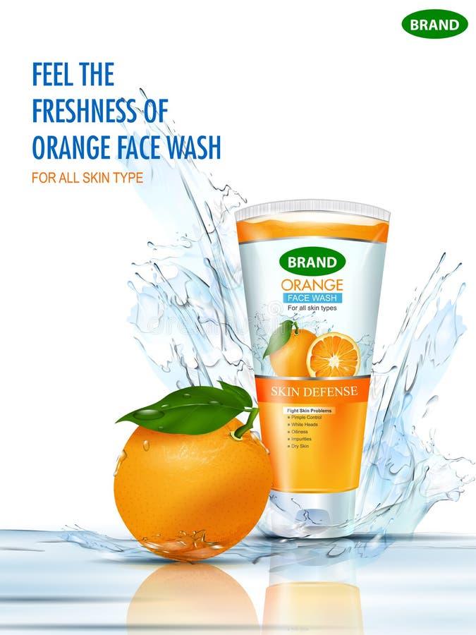 De banner van de reclamebevordering voor koele en verfrissende het schuimen gezichtswas stock illustratie