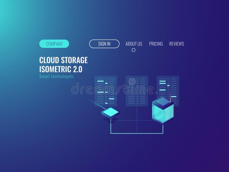 De banner van de serverruimte, volmachts vpn technologie, wolkengegevens centreert datase, blockchain concept, die online neondar stock illustratie