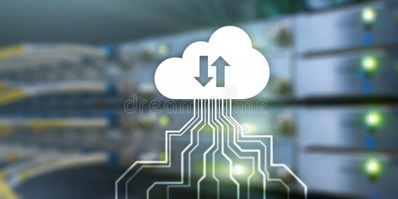 De banner van de technologie Van de de Gegevensopslag van het wolkenvoorzien van een netwerk het Concept van Internet op vage ser vector illustratie