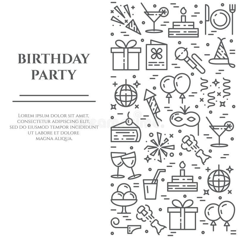 De banner van de verjaardagspartij met lijnpictogrammen met editable slag in vorm ofvertical rechthoek royalty-vrije illustratie