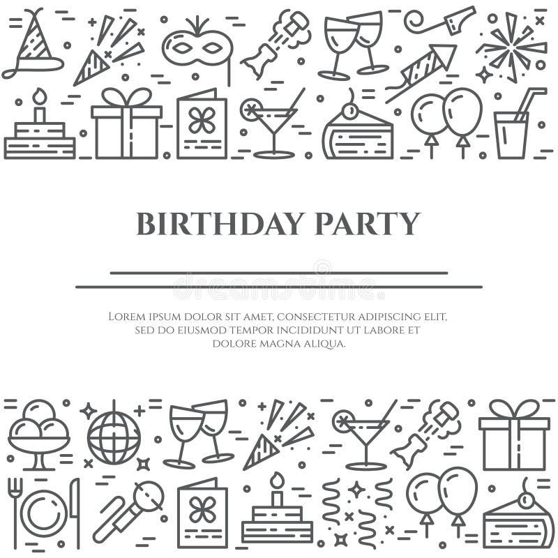 De banner van de verjaardagspartij met twee horizontale lijnen van lijnpictogrammen met editable slag vector illustratie