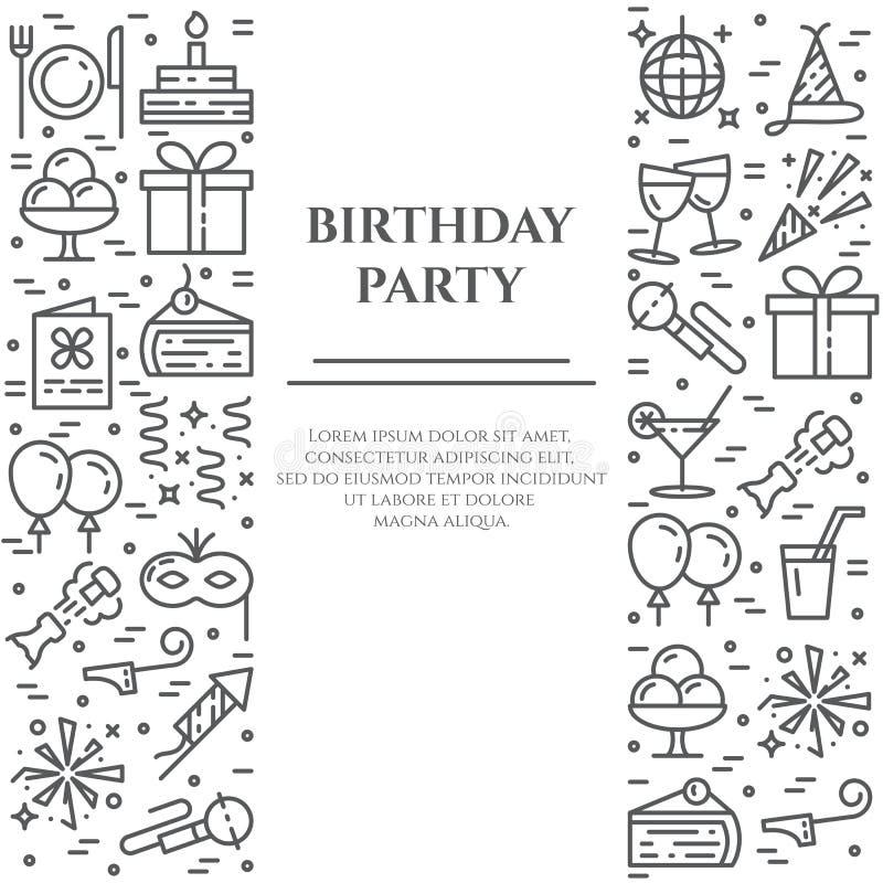De banner van de verjaardagspartij met twee verticale lijnen van lijnpictogrammen met editable slag vector illustratie