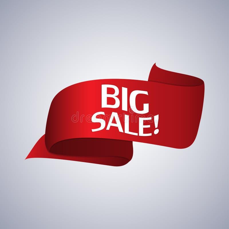 De banner van de verkoop Realistisch Rood Glanzend document lint Vector illustratie stock illustratie