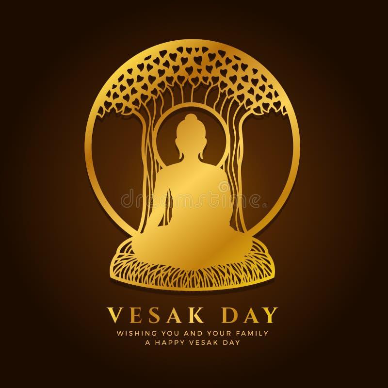 De banner van de Vesakdag met Gouden Boedha mediteert onder Bodhi-boom in het teken vectorontwerp van het cirkelkader stock illustratie