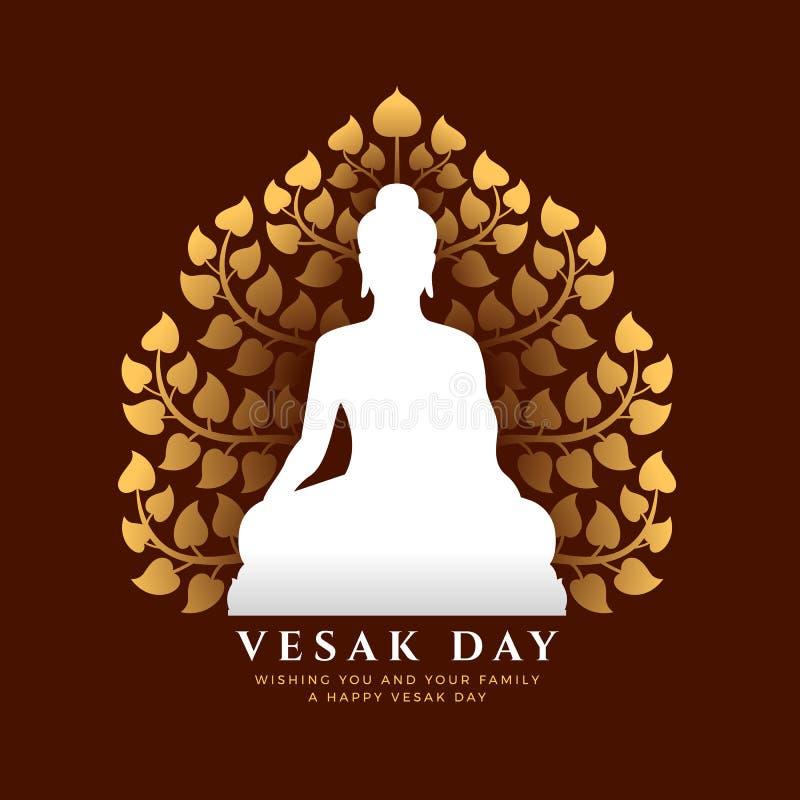 De banner van de Vesakdag met witte Boedha mediteert teken en gouden Bodhi-boom vectorontwerp als achtergrond vector illustratie