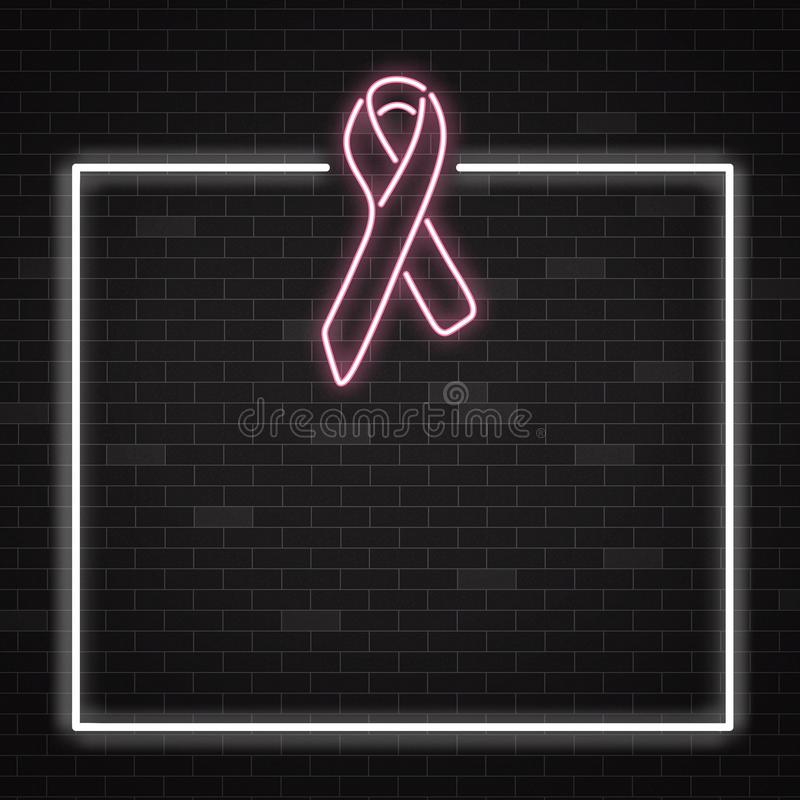 De banner van de de voorlichtingsmaand van borstkanker met symbool in realistische stijl stock illustratie