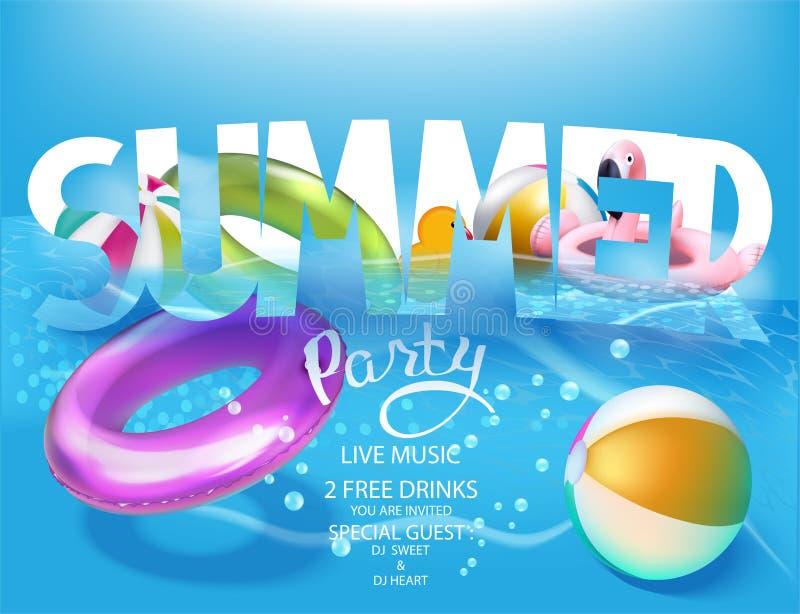 De banner van de de zomerpartij met opblaasbaar speelgoed in een water stock illustratie