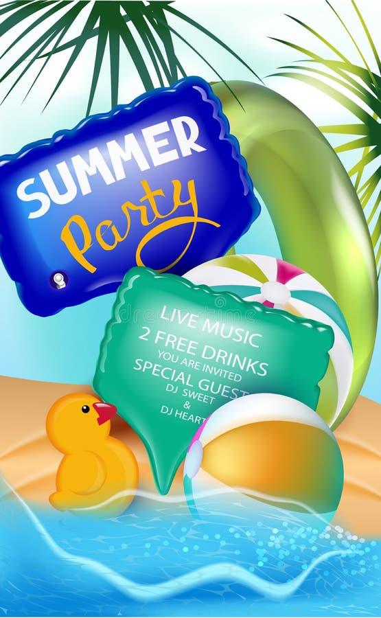 De banner van de de zomerpartij met opblaasbaar speelgoed en strand vector illustratie
