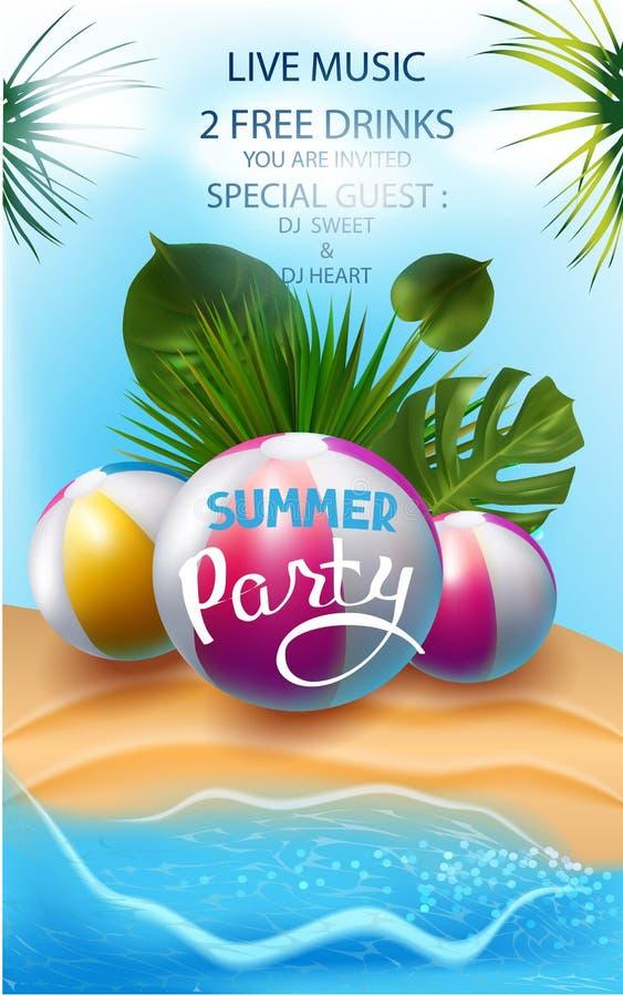 De banner van de de zomerpartij met opblaasbaar speelgoed, tropisch bladeren en zand royalty-vrije illustratie