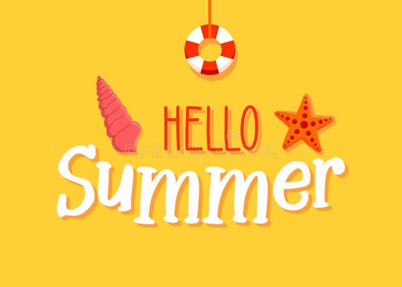De banner van de de zomertekst met strand en mariene elementen - overzeese ster, zeeschelp en reddingsboei de vectorachtergrond v royalty-vrije illustratie
