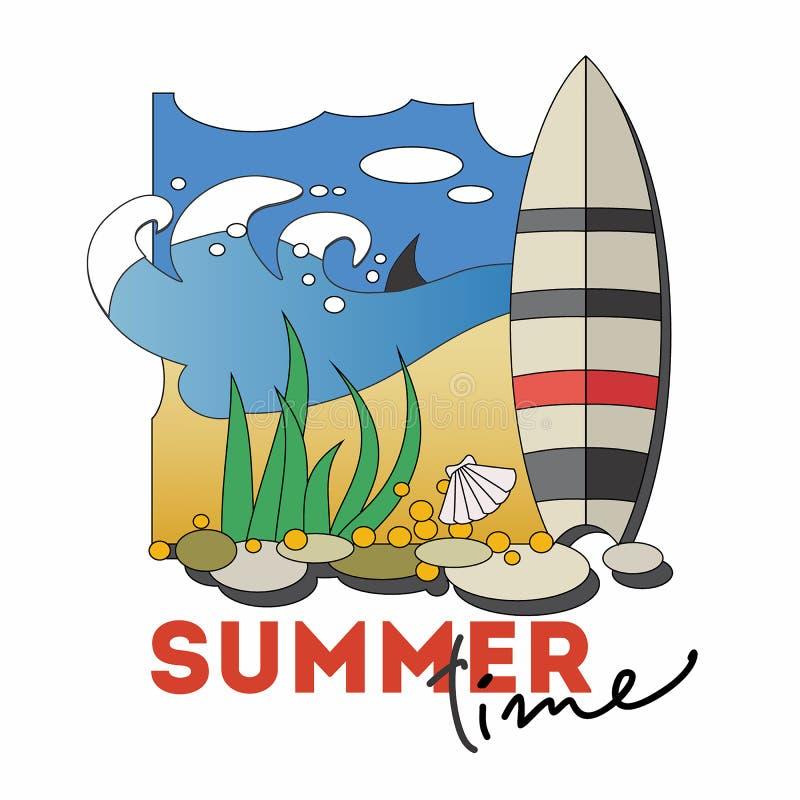 De banner van de de zomertijd De stijlillustratie van het beeldverhaal vector illustratie