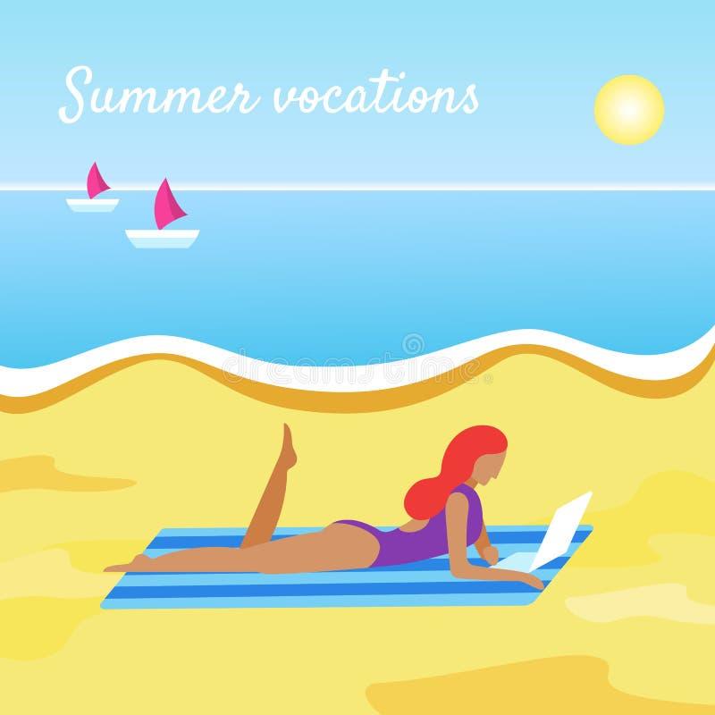 De banner van de zomervakanties met meisje stock illustratie