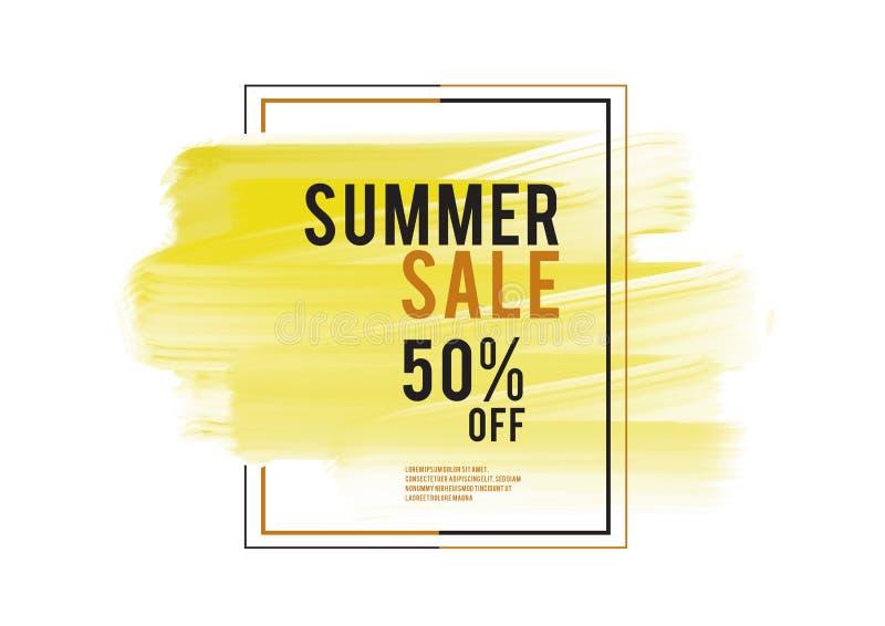 De banner van de de zomerverkoop, de gele kwaststreek van de waterverfkunst met kader, Grunge-cirkel, pictogramontwerp, Hand getr vector illustratie