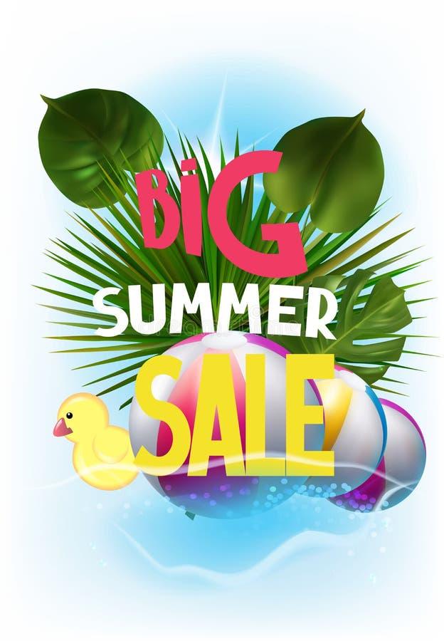 De banner van de de zomerverkoop met opblaasbaar speelgoed en tropische bladeren vector illustratie