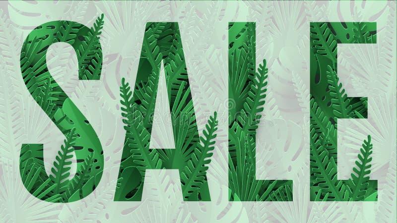 De banner van de de zomerverkoop Vectorontwerp van affiche het tropische bladeren stock illustratie