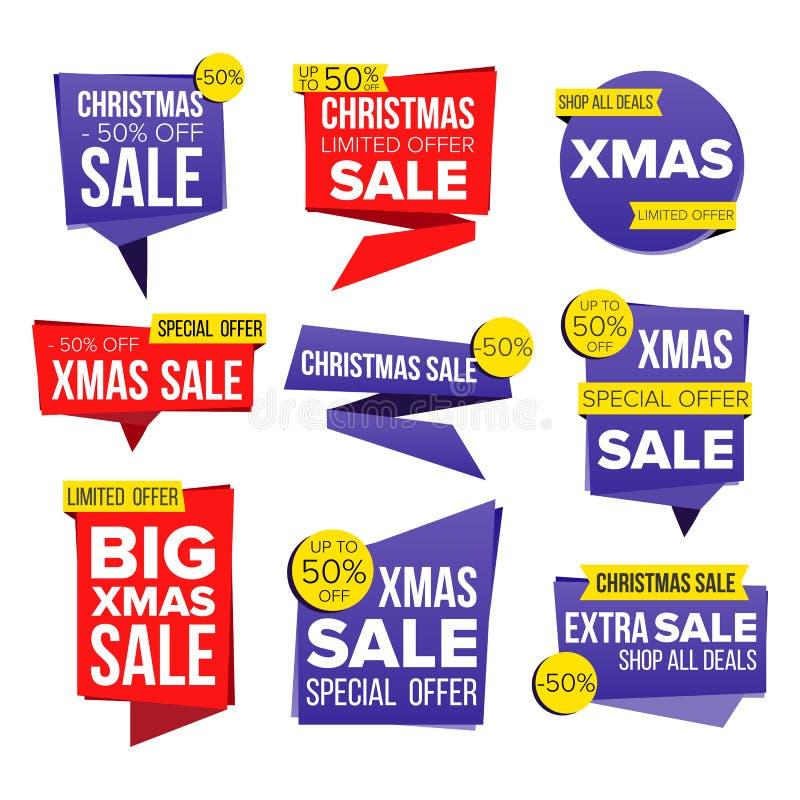 De Banner Vastgestelde Vector van de Kerstmisverkoop Kortingsmarkering, de Speciale Banners van de Kerstmisaanbieding Goede de Ov vector illustratie