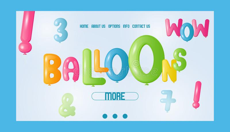 De banner vectorillustratie van de ballondoopvont Website van winkel met kleurrijke vliegende ballons voor viering of partij Part vector illustratie