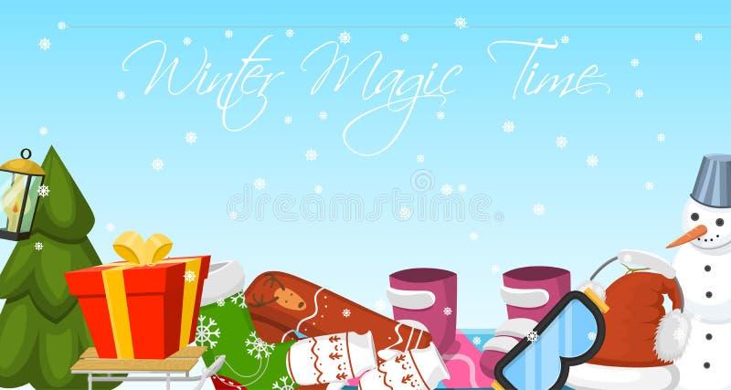 De banner vectorillustratie van de de winter magische tijd Aardlandschap met Kerstboom, sneeuwmannen, slee, snowboard hoedensjaal stock illustratie