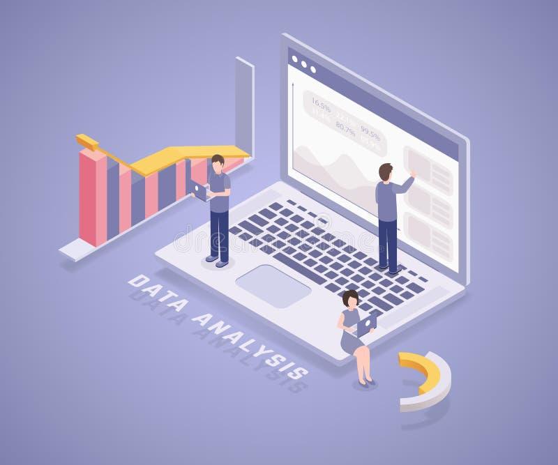 De banner vectormalplaatje van de statistische gegevensanalyse Professioneel analistenteam, karakters van het beambten 3D beeldve royalty-vrije illustratie