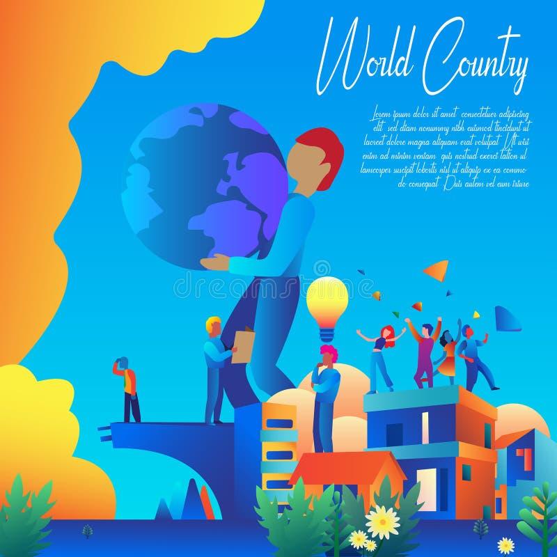 De Banner Vectorontwerp van het wereldland royalty-vrije stock fotografie