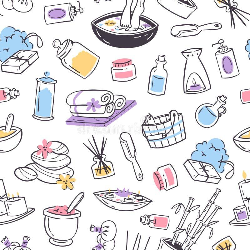 De bannerachtergrond van de kuuroordbehandeling De opslagkuuroord van ontwerpschoonheidsmiddelen en schoonheidssalon, organische  royalty-vrije illustratie