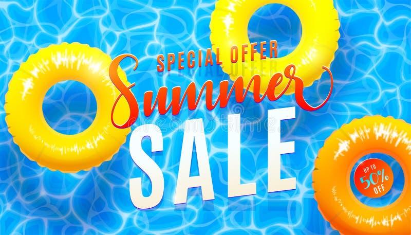 De bannerachtergrond van de de zomerverkoop met blauwe watertextuur en gele poolvlotter Vectorillustratie van overzeese strandaan stock illustratie