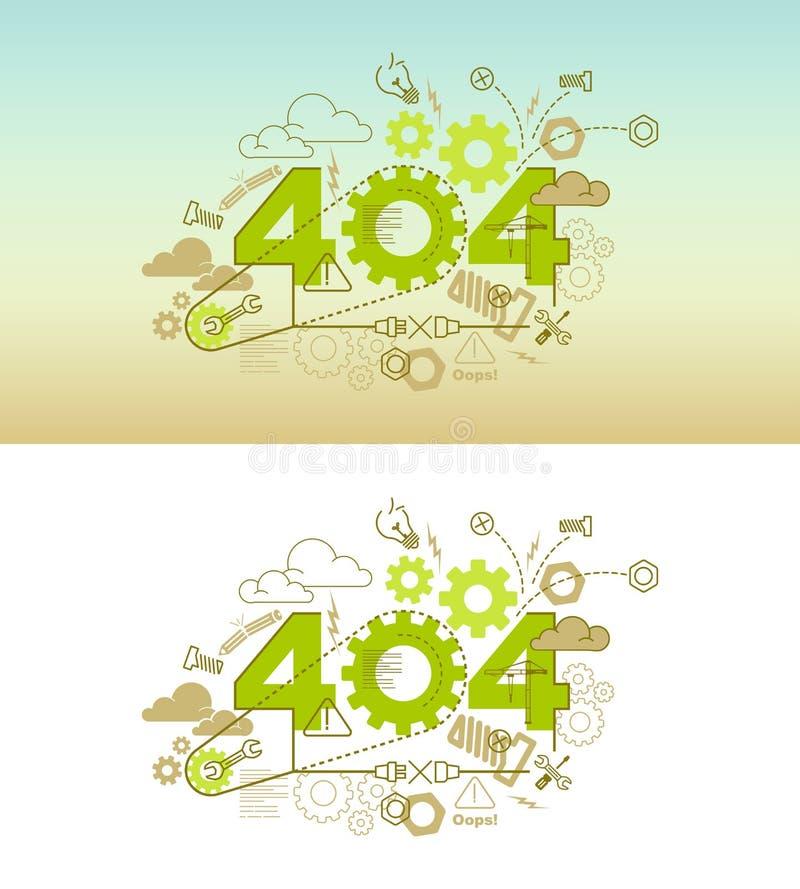 de bannerconcept van de 404 foutenwebsite met dun lijn vlak ontwerp vector illustratie