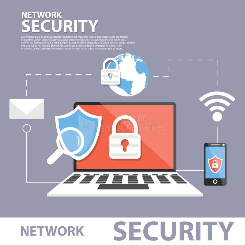 De Bannerconcept van het netwerkbeveiliging Vlak Pictogram vector illustratie