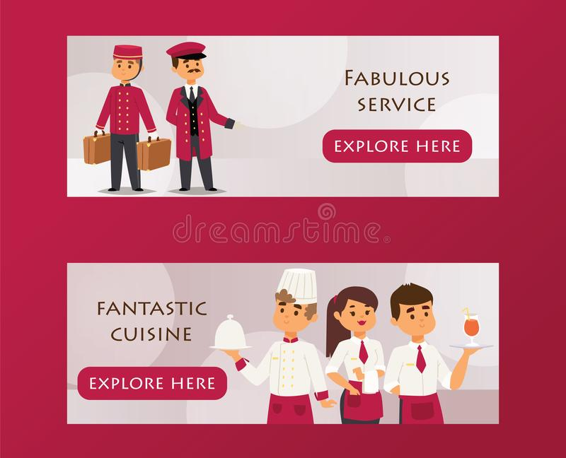 De bannerillustratie van de hoteldienst met de tekst fabelachtige dienst, fantastische keuken Portier met bagage en piccolo vector illustratie