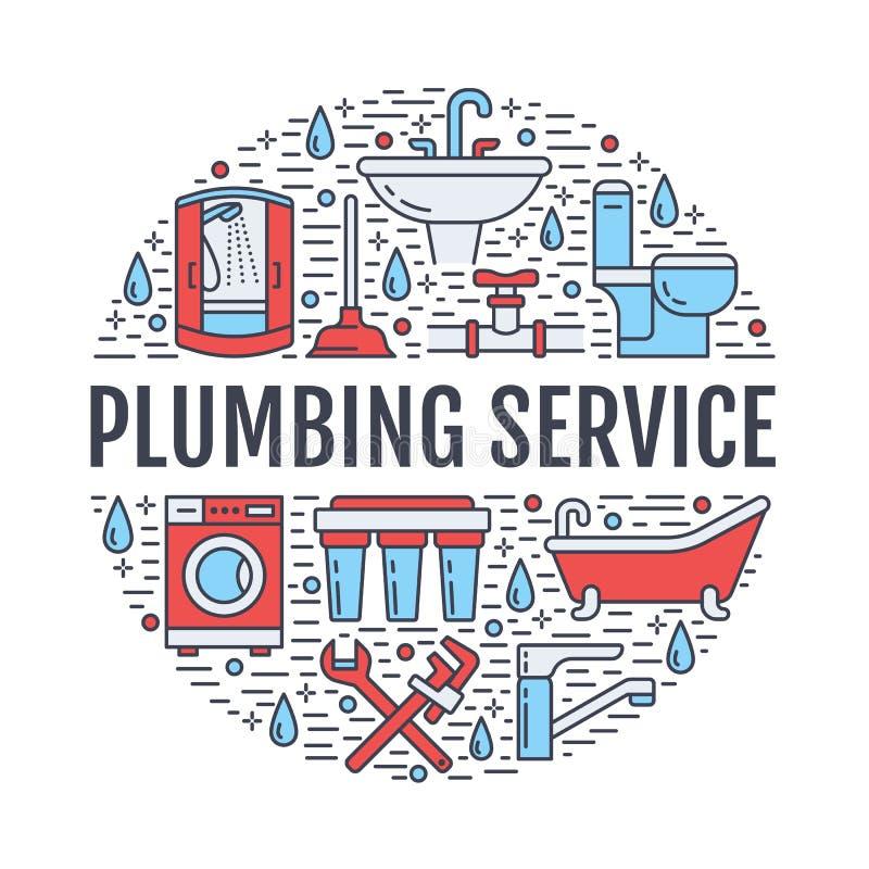 De bannerillustratie van de loodgieterswerkdienst Vectorlijnpictogrammen van het materiaal van de huisbadkamers, tapkraan, toilet royalty-vrije illustratie