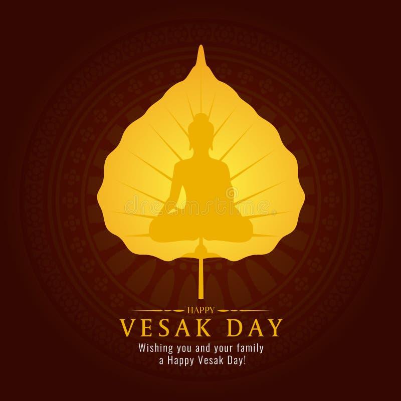 De bannerkaart van de Vesakdag met het gouden teken van Boedha op gouden Bodhi-blad vectorontwerp stock illustratie