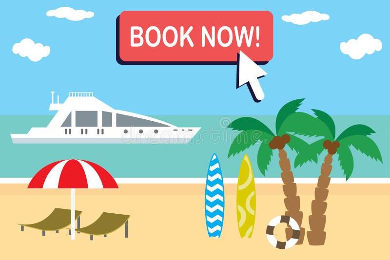 De bannermalplaatje van de beeldverhaalreis, tropisch strand en de zomerreis stock illustratie