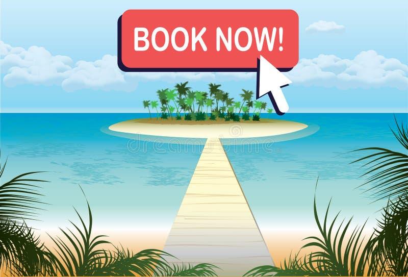 De bannermalplaatje van de beeldverhaalreis, tropisch strand en de zomerreis, bu stock illustratie