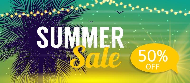 De Bannermalplaatje van de de zomerverkoop voor uw Zaken Vectorillustrati stock illustratie