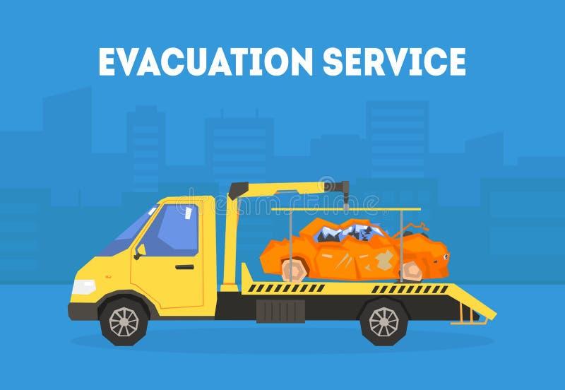 De Bannermalplaatje van de evacuatiedienst, Tow Truck Transporting Automobile aan de Vectorillustratie van de Reparatiepost royalty-vrije illustratie