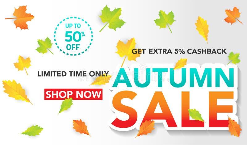 De bannermalplaatje van de de herfstverkoop met bladeren, dalingsbladeren voor het winkelen verkoop Bannerontwerp Affiche, kaart, vector illustratie
